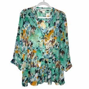Sundance Floral Silk Tiered Bohemian Blouse L